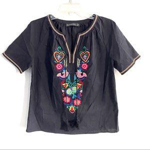Sugarhill Boutique Embroidered Peasant Top
